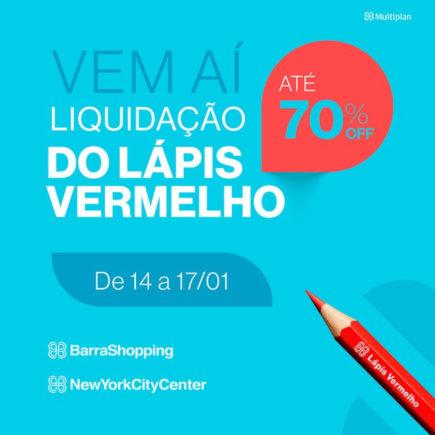 Liquidação do Lápis Vermelho acontece de 14 a 17 de janeiro no BarraShopping e NewYorkCityCenter